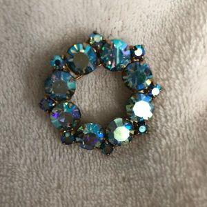 Vintage Coro AB eternity circle brooch blue/ green